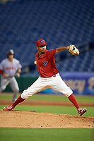 Clearwater Threshers relief pitcher Alberto Tirado (38) delivers a pitch during a game against the Florida Fire Frogs on June 1, 2018 at Spectrum Field in Clearwater, Florida.  Florida defeated Clearwater 12-10.  (Mike Janes/Four Seam Images)