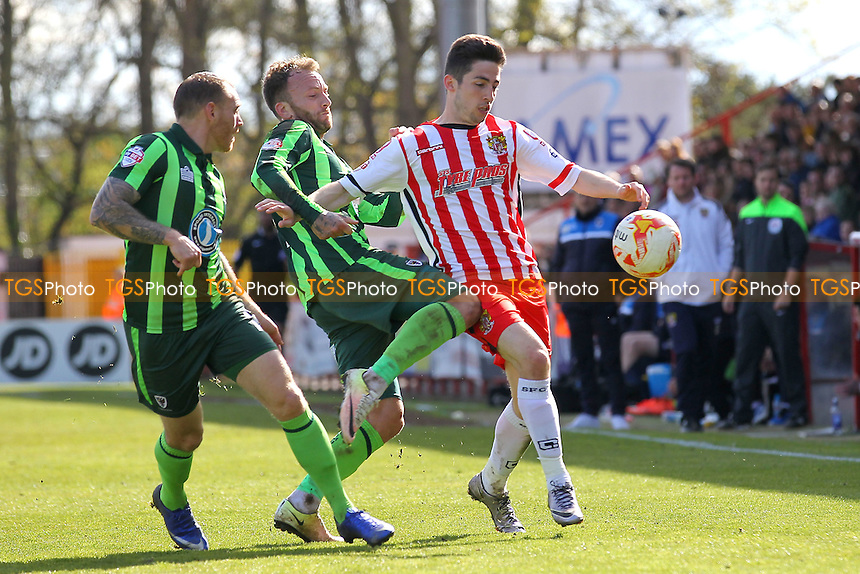 Tom Pett of Stevenage and Sean Rigg of AFC Wimbledon during Stevenage vs AFC Wimbledon, Sky Bet League 2 Football at the Lamex Stadium on 30th April 2016