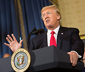 "United States President Donald J. Trump makes a statement on health care while standing with ""victims of Obamacare"" at The White House in Washington, DC, July 24, 2017. <br /> Credit: Chris Kleponis / CNP"