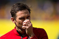 Frank Lampard of England looks dejected