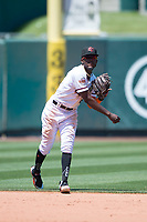 Sacramento RiverCats shortstop Orlando Calixte (2) makes a throw to first base during a Pacific Coast League against the Tacoma Rainiers at Raley Field on May 15, 2018 in Sacramento, California. Tacoma defeated Sacramento 8-5. (Zachary Lucy/Four Seam Images)
