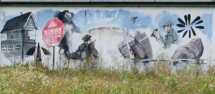 Artwork at Rainham Marshes, Purfleet, Essex Depicting the Sites History with the Military