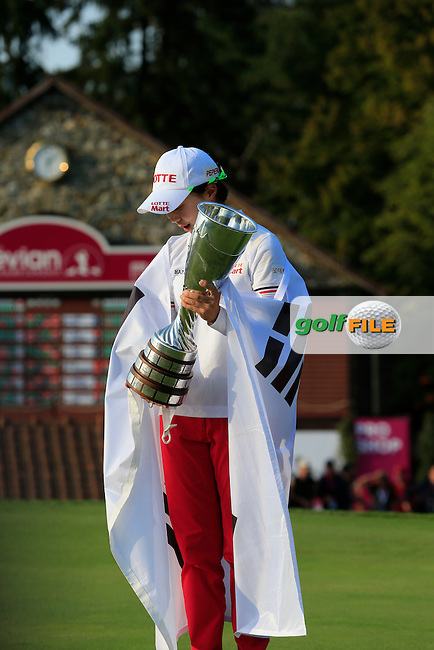 Hyo Joo Kim (KOR) wins the tournament by 1 shot with a score of -11 at the end of Sunday's Final Round of The Evian Championship 2014 held at the Evian Resort Golf Club, Evian-les-Bains, France.: Picture Eoin Clarke, www.golffile.ie: 14th September 2014
