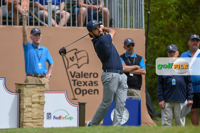 Abraham Ancer (MEX) watches his tee shot on 1 during day 1 of the Valero Texas Open, at the TPC San Antonio Oaks Course, San Antonio, Texas, USA. 4/4/2019.<br /> Picture: Golffile   Ken Murray<br /> <br /> <br /> All photo usage must carry mandatory copyright credit (© Golffile   Ken Murray)
