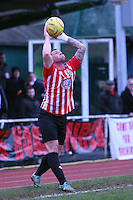 Billy Coyne of Hornchurch takes a throw in - AFC Hornchurch vs Bognor Regis Town - Ryman League Premier Division Football at The Stadium, Bridge Avenue, Upminster - 07/02/15 - MANDATORY CREDIT: Mark Hodsman/TGSPHOTO - Self billing applies where appropriate - contact@tgsphoto.co.uk - NO UNPAID USE