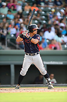 Right fielder Anthony Concepcion (23) of the Rome Braves bats in a game against the Greenville Drive on Sunday, August 13, 2017, at Fluor Field at the West End in Greenville, South Carolina. Greenville won, 2-1. (Tom Priddy/Four Seam Images)