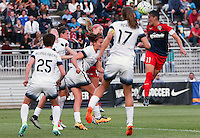 Boyds, MD - Saturday May 07, 2016: Washington Spirit defender Ali Krieger (11) connects on a header from a corner kick during a regular season National Women's Soccer League (NWSL) match at Maureen Hendricks Field, Maryland SoccerPlex. Washington Spirit tied the Portland Thorns 0-0.