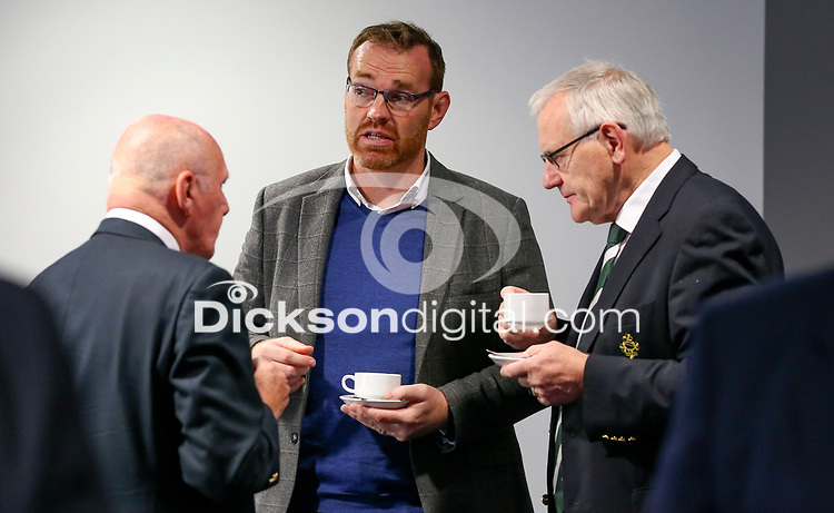 10th October 2019 | Syd Millar Pathway<br /> <br /> Stephen Hilditch, Jonny Petrie and Ian McIlwrath during the official opening of the Syd Millar Pathway at Kingspan Stadium, Ravenhill Park, Belfast, Northern Ireland. Photo by John Dickson / DICKSONDIGITAL