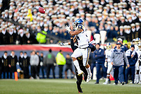 PHILADELPHIA, PA - DEC 8, 2018: Navy Midshipmen fullback Mike Martin (34) almost pulls off an acrobatic catch during game between Army and Navy at Lincoln Financial Field in Philadelphia, PA. Army defeated Navy 17-10 to win the Commander in Chief Cup. (Photo by Phil Peters/Media Images International)