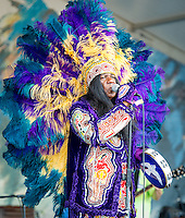 Big Chief Monk Boudreaux performs at the 2012 Jazz and Heritage Festival in New Orleans, LA on April 29, 2012.  © HIGH ISO Music, LLC / Retna, Ltd.,
