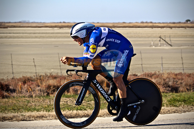 Philippe Gilbert (BEL) Deceuninck–Quick Step in action during Stage 1 of the 2019 Tour de La Provence an individual time trial of 8.9km around Saintes-Marie-de-la-Mer, France.<br /> Picture: Shift Media/Kim Caritoux | Cyclefile<br /> <br /> <br /> All photos usage must carry mandatory copyright credit (© Cyclefile | Shift Media/Kim Caritoux)