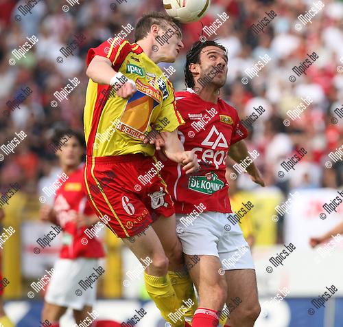 2008-06-01 / Voetbal / R. Antwerp FC - Tubeke / Stavros Glouftsis (r, Antwerp) in een kopduel met Neels van Tubeke..Foto: Maarten Straetemans (SMB)