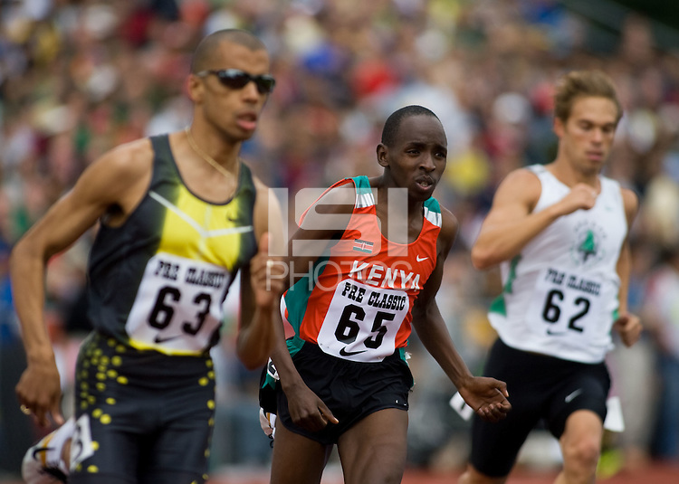 EUGENE, OR--Gary Reed, Alfred Yego, and Nick Symmonds compete in the 800 meters during the Steve Prefontaine Classic, Hayward Field, Eugene, OR. SUNDAY, JUNE 10, 2007. PHOTO © 2007 DON FERIA