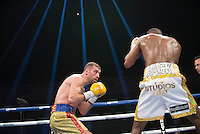 "Romainian-born Canadian prizefighter Lucian Bute challenges world super middleweight champion Badou ""the Ripper"" Jack in Washington DC, April 30, 2016.<br /> <br /> <br /> PHOTO : Donovan Marks - Agence Quebec presse"
