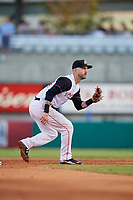Arkansas Travelers second baseman Jeff Kobernus (4) waits to receive a throw during a game against the Midland RockHounds on May 25, 2017 at Dickey-Stephens Park in Little Rock, Arkansas.  Midland defeated Arkansas 8-1.  (Mike Janes/Four Seam Images)