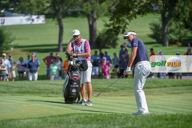 Ian Poulter (GBR) chips up to within inches on 9 during 3rd round of the World Golf Championships - Bridgestone Invitational, at the Firestone Country Club, Akron, Ohio. 8/4/2018.<br /> Picture: Golffile | Ken Murray<br /> <br /> <br /> All photo usage must carry mandatory copyright credit (© Golffile | Ken Murray)