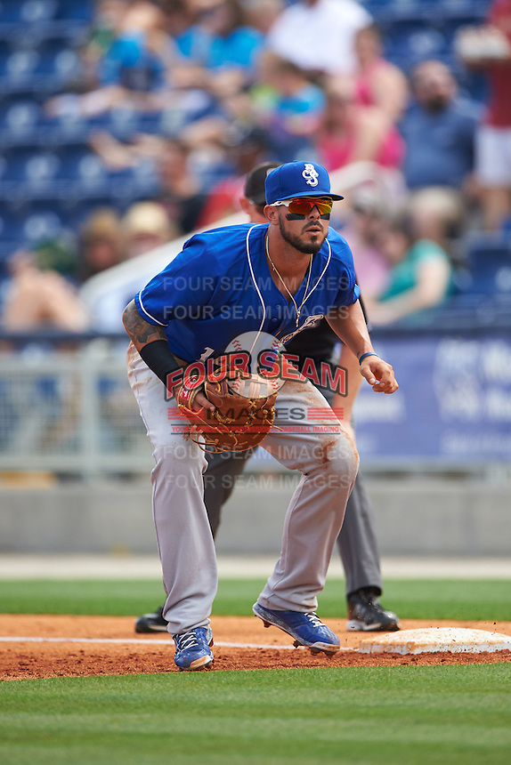Biloxi Shuckers first baseman Nick Ramirez (14) during the first game of a double header against the Pensacola Blue Wahoos on April 26, 2015 at Pensacola Bayfront Stadium in Pensacola, Florida.  Biloxi defeated Pensacola 2-1.  (Mike Janes/Four Seam Images)