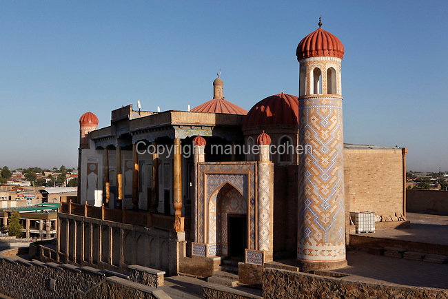 "General view of Hazrat-Hyzr mosque, known as a ""Kadamjoy"" (place of a Trace), 19th century, Samarkand, Uzbekistan, pictured on July 19, 2010, at dawn.The Hazrat-Hyzr mosque, built in ""ayvan"" style, is located on a hill in Tashkent Street on the site of the ancient shrine of the holy elder Hyzr, protector of wanderers, and the 11th century site of Samarkand's first mosque, destroyed in the 1220 invasion of Genghiz-khan. Samarkand, a city on the Silk Road, founded as Afrosiab in the 7th century BC, is a meeting point for the world's cultures. Its most important development was in the Timurid period, 14th to 15th centuries. Picture by Manuel Cohen."