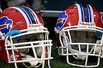 28 August 2008:  Two Buffalo Bills helmets lie on the sidelines during a game against the Detroit Lions at Ralph Wilson Stadium in Orchard Park, NY. The Lions defeated the Bills 14-6 in their fourth and final pre-season game...Mandatory Photo Credit: Ed Wolfstein Photo