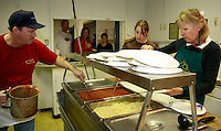 Rich Lockwood did the cooking and his wife Linda and granddaughter Mercedes dished it out at the Lions Club 14th annual spaghetti dinner to benefit the Dana Foundation of Dana Middle School, Sunset Cliffs Surfing Association Spinal Chord Injuries and the Guide Dogs of the Desert, Saturday, February 2, 2008.