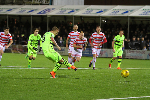 26.02.2016. New Douglas Park, Hamilton, Scotland. Scottish Premier League. Hamilton Academicals versus Celtic. Leigh Griffiths scores the opening goal of the match