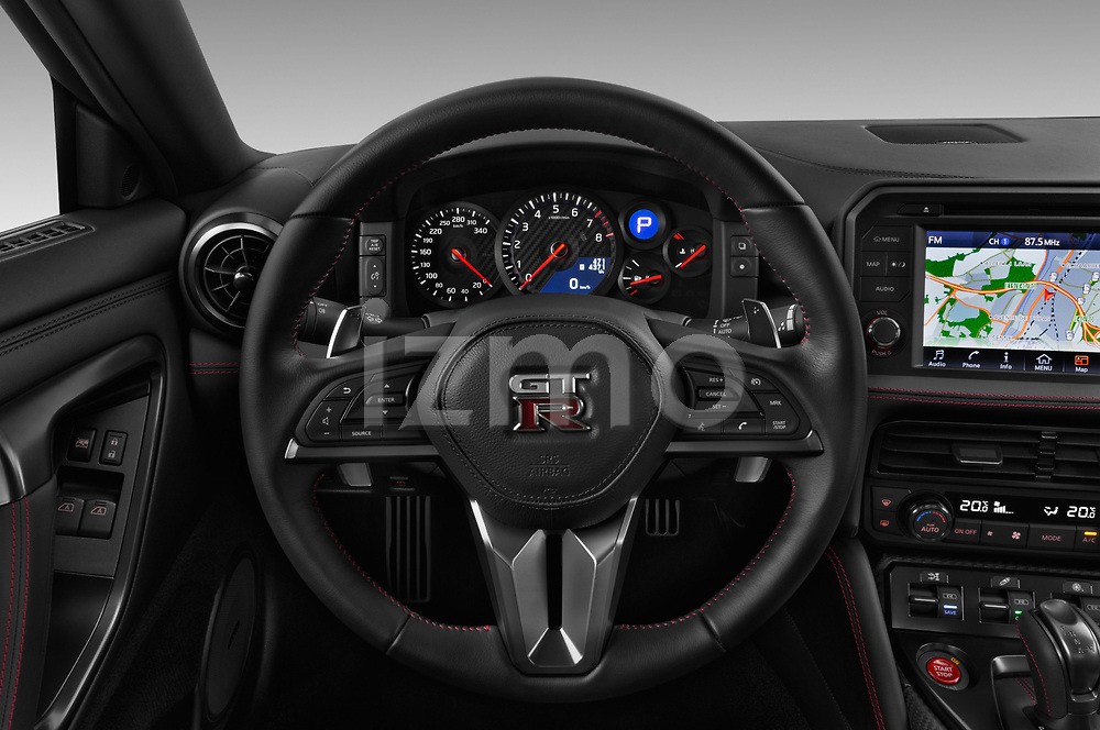 Car pictures of steering wheel view of a 2017 Nissan GT-R Black-Edition 2 Door Coupe Steering Wheel
