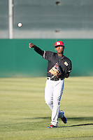 Juremi Profar (7) of the High Desert Mavericks throws before a game against the Lancaster JetHawks at The Hanger on April 16, 2016 in Lancaster, California. Lancaster defeated High Desert, 3-2. (Larry Goren/Four Seam Images)