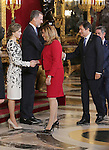 King Felipe VI of Spain, Queen Letizia of Spain and Susana Diaz Secretary General of the Andalusian Federation of Spanish Socialist Workers' Party and President of Andalucia during the National Day acts. October 12 ,2016. (ALTERPHOTOS/Pool)