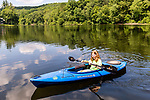 BEACON FALLS, CT. 13 July 2019-071319 - Rebecca Armstrong, 10, of Beacon Falls paddles for the first time in a kayak during family day at Matthies Park in Beacon Falls on Saturday. Bill Shettle Republican-American