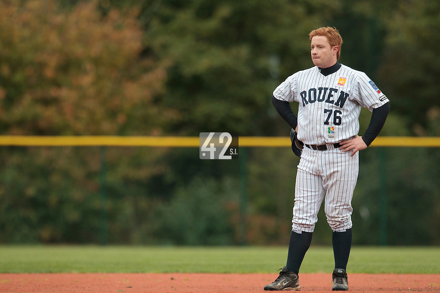 23 October 2010: David Gauthier of Rouen is seen during Savigny 8-7 win (in 12 innings) over Rouen, during game 3 of the French championship finals, in Rouen, France.