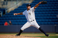 Staten Island Yankees relief pitcher Kyle Johnson (24) delivers a pitch during a game against the Lowell Spinners on August 22, 2018 at Richmond County Bank Ballpark in Staten Island, New York.  Staten Island defeated Lowell 10-4.  (Mike Janes/Four Seam Images)