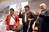 Roma, 11 Giugno 2012.Palazzetto delle carte geografiche.Evo Morales , presidente della Bolivia, durante la visita a Roma per ritirare un premio alla FAO, incontra la comunità boliviana della città e i movimenti di sinistra..Nella foto anche il professore Luciano Vasapollo