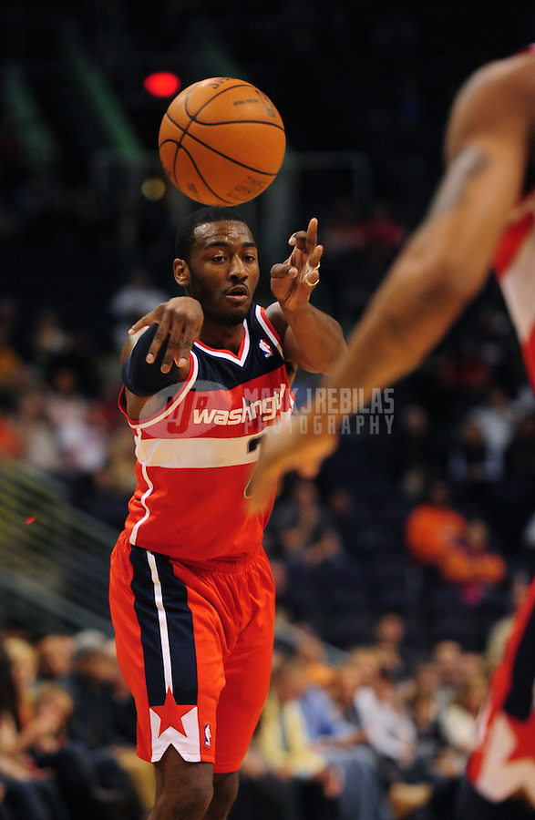 Feb. 20, 2012; Phoenix, AZ, USA; Washington Wizards guard John Wall during game against the Phoenix Suns at the US Airways Center. The Suns defeated the Wizards 104-88. Mandatory Credit: Mark J. Rebilas-.