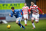 St Johnstone v Hamilton Accies....016.01.16  SPFL  McDiarmid Park, Perth<br /> Craig Thomson is closed down by Gramoz Kurtaj<br /> Picture by Graeme Hart.<br /> Copyright Perthshire Picture Agency<br /> Tel: 01738 623350  Mobile: 07990 594431