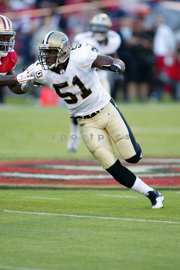 JONATHAN VILMA, of the New Orleans Saints, in action during the Saints game against the San Francisco 49ers on September 20, 2010 in San Francisco, California. ..Saints beat the 49ers 25-22.