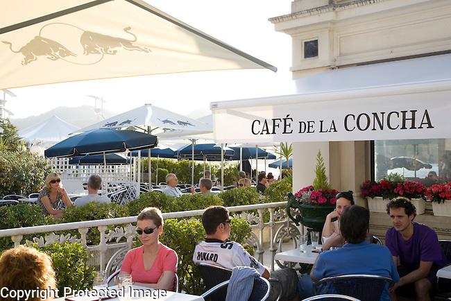 Cafe de la Concha, Playa de la Concha Beach, San Sebastian, Basque Country, Spain