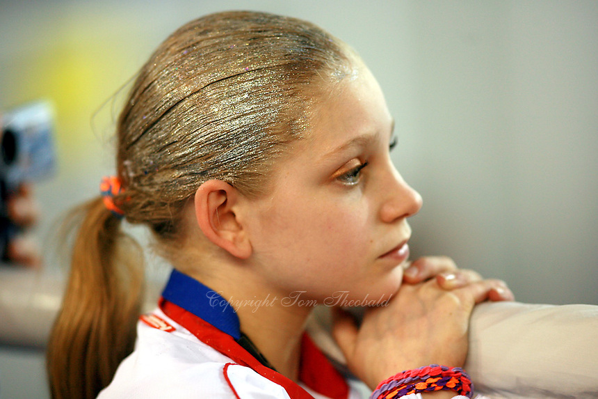 Karina Myasnikova of Russia watches event finals action at 2006 European Championships Artistic Gymnastics at Volos, Greece on April 30, 2006.  (Photo by Tom Theobald)<br />