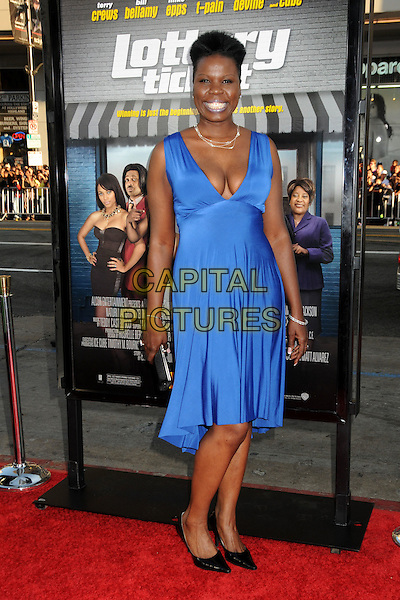 "LESLIE JONES .""Lottery Ticket"" Los Angeles Premiere held at Grauman's Chinese Theatre, Hollywood, California, USA,.12th August 2010.full length blue dress sleeveless black shoes cleavage  .CAP/ADM/BP.©Byron Purvis/AdMedia/Capital Pictures."