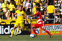 28 AUGUST 2010:  Brian Carroll of the Columbus Crew (16) and FC Dallas' David Ferreira (10) during MLS soccer game between FC Dallas vs Columbus Crew at Crew Stadium in Columbus, Ohio on August 28, 2010.