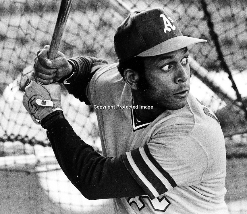 Orlando Cepeda takes batting practice with the A's in 1972 (photo Ron Riesterer)