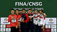Gold medallists Tom Daley and Matty Lee with silver medallists Hao Yang and Junjie Lian and Bronze medallists Viktor MiniBaev and Aleksandr Bondar<br /> <br /> Photographer Hannah Fountain/CameraSport<br /> <br /> FINA/CNSG Diving World Series 2019 - Day 1 - Friday 17th May 2019 - London Aquatics Centre - Queen Elizabeth Olympic Park - London<br /> <br /> World Copyright © 2019 CameraSport. All rights reserved. 43 Linden Ave. Countesthorpe. Leicester. England. LE8 5PG - Tel: +44 (0) 116 277 4147 - admin@camerasport.com - www.camerasport.com