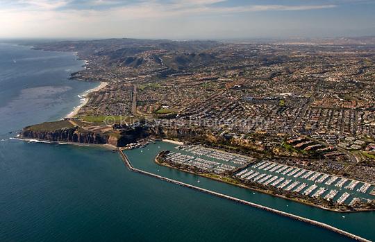 Aerial view of Dana Point and Harbor looking northwest toward Laguna Beach.