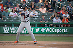 May 24, 2014; Stockton, CA, USA; Pepperdine Waves first baseman Brad Anderson (24) during the WCC Baseball Championship at Banner Island Ballpark.