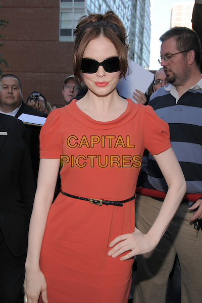 "ROSE McGOWAN.""Fifty Dead Men Walking"" Premiere held at Roy Thomson Hall during the 33rd Annual Toronto International Film Festival, Toronto, Ontario, Canada, 10 September 2008..half length red dress sunglasses belt .CAP/ADM/BPC.©Brent Perniac/Admedia/Capital Pictures"