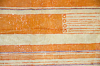 A close-up view of tapa (or kapa) cloth after it has been dyed and completed, by artist Roen Hufford, Big Island.