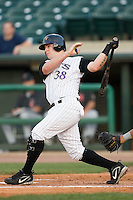 Louisville third baseman Aaron Herr (38) follows through on his swing versus Indianapolis at Louisville Bats Field in Louisville, KY, Wednesday, August 8, 2007.
