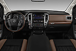 Stock photo of straight dashboard view of 2017 Nissan Titan Platinum-Reserve-Crew 4 Door Pickup Dashboard