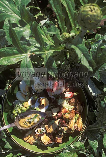 """Europe/France/Languedoc-Roussillon/11/Aude/Carcassonne: Salade d'artichauts au foie de porc séché - recette d'Elodie Galinier du restaurant """"Le Jardin de la Tour"""""""