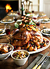 Honey-Glazed Turkey, with cranberry, kumquat and wild rice stuffing and burnt clementines.