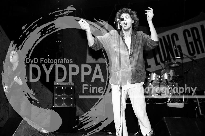 Pete Briquette, Bob Geldof und Simon Crowe von The Boomtown Rats live in Dominion. London, 25.02.1984